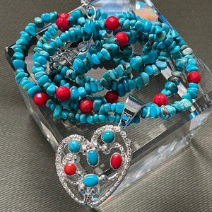 Jay King SEVEN PEAKS TURQUOISE & CORAL Necklace
